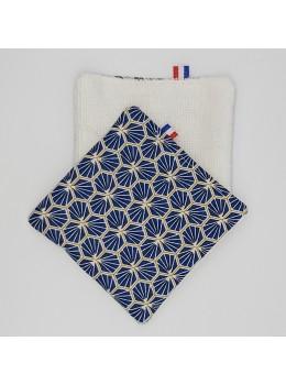 Lingette démaquillante lavable fait main bleue